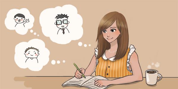 お客さんノートを書いている写真