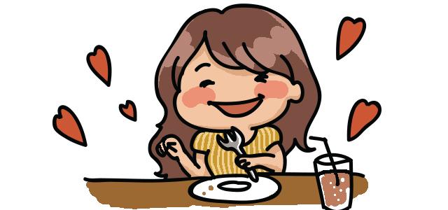 食事を楽しむキャバ嬢のイラスト