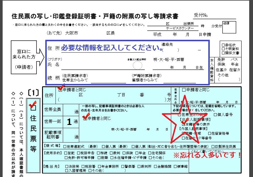 住民票の記入の仕方