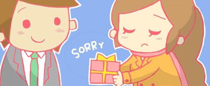 お詫びの品を渡すキャバ嬢のイラスト