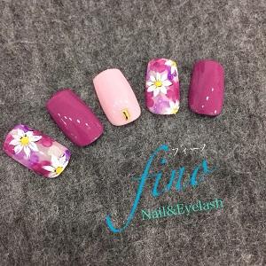 お花(ピンク)ネイル